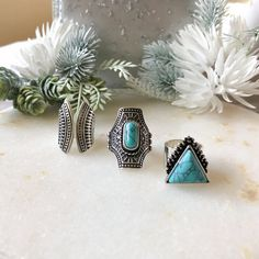 Our Boho 3 Piece Ring Set is a statement making Ring Set that features bohemian design with turquoise or black stone accents. Hipster Jewelry, Geek Jewelry, Gothic Jewelry, Body Jewelry, Women Jewelry, Jewelry Box, Jewelry Necklaces, Bohemian Design, Boho