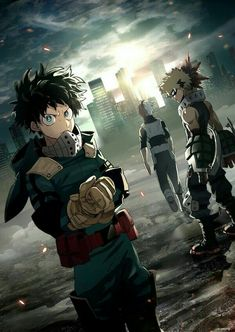 Izuku, Katsuki, Shouto, cool, hero, uniforms, outfits, suits; My Hero Academia
