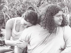 kate and hugo behind the scenes | Evangeline Lilly & Jorge Garcia