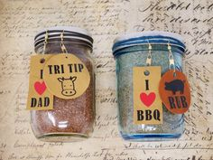 BBQ Rubs in jars with leather tags! Rub For Pork Ribs, Pork Rub, Bbq Rub, Easy Gifts, Love Gifts, Best Rib Rub, Diy Leather Gifts, Leather Scraps, Cow Hide
