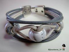 Herbstschmuck-Damen Ararmband, Leder, Grau-Weiß,  von Bijouxbaron_24 auf DaWanda.com