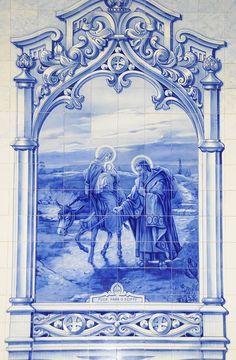 File:Flight into Egypt. Simply Beautiful in midight blues. Tile Murals, Tile Art, Mosaic Tiles, Glazed Ceramic Tile, Mosaic Pictures, Indian Prints, Abstract Line Art, Portuguese Tiles, Pen Art