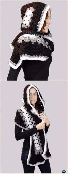 Crochet Ella Hooded Scarf Free Pattern - Crochet Hoodie Free Patterns