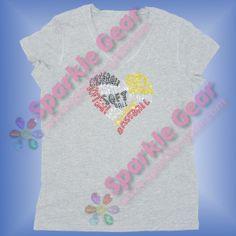 Baseball and Softball word Heart in Crystal, Jet Black, Light Siam and Citrine rhinestones