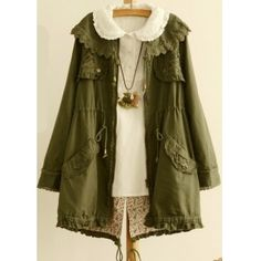 Wholesale Youthful Awesome Pure Color Lapel Long Sleeve Lace Embroidery Tieback Coat Army Green Top Dress Girls Winter Jackets Army Green Tops Womens Fall