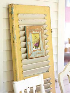 Repurposed old shutters, I think I would do this with small framed pictures of S. - Repurposed old shutters, I think I would do this with small framed pictures of Sophia or family, han - Old Window Shutters, Vintage Shutters, Repurposed Shutters, Window Frames, Paint Shutters, Distressed Shutters, Decorating On A Budget, Porch Decorating, Shutter Projects