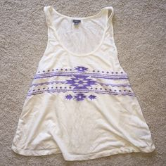Aerie Summer Tank NWOT Very cute for the summer time. The top is an off white color with purple embroidery! NWOT aerie Tops Tank Tops