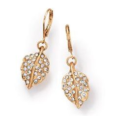 FOREVER selected by Paula Abdul Pavé Embellished Leaf Earrings
