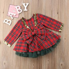 US Christmas Kids Baby Girls Plaid Dress+Tutu Skirts Outfits Set Clothes Tutu Outfits, Kids Outfits, Christmas Suit, Christmas 2019, Baby Girl Christmas Dresses, The Dress, Dress Tops, Baby Girl Fashion, Little Girl Dresses