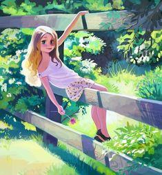 ArtStation - In the backyard, reza abbbasi Art And Illustration, Character Illustration, Girl Illustrations, Magazine Illustration, Cartoon Girl Drawing, Girl Cartoon, Cute Girl Drawing, Disney Kunst, Disney Art