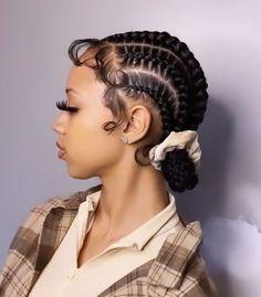 Feed In Braids Hairstyles, Braids Hairstyles Pictures, Black Girl Braided Hairstyles, Baddie Hairstyles, Hair Ponytail Styles, Curly Hair Styles, Natural Hair Styles, Hair Bun Maker, Dyed Natural Hair