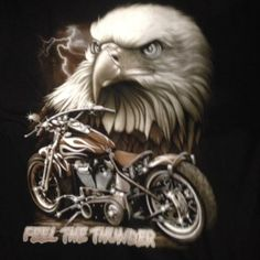 Harley/ Brown Motor Bike image Eagle long sleeve T-shirt black 100% cotton