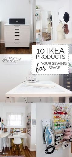 ikea products for your sewing space Maybe someday, if I ever buy a house, I can have a sewing/craft room. Then this pin will come in handy :)Maybe someday, if I ever buy a house, I can have a sewing/craft room. Then this pin will come in handy :) Ikea Sewing Rooms, Sewing Spaces, My Sewing Room, Small Sewing Space, Sewing Room Decor, Sewing Room Furniture, Sewing Room Design, Design Desk, Library Design