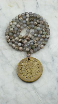 Mandala Mala Necklace - Green Picture Jasper and Agate Mala Beads - Malas, Buddhist Prayer Beads, 108 Mala Beads - Connecting with the earth...