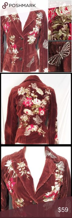 Johnny Was Rust Rose Flower Embroidered Blazer SM Absolutely gorgeous Blazer by designer Johnny Was! The velvet like material is embellished with beautiful embroidered roses and garden addition butterflies. Stunning colors as the rust brown of the Blazer contrasts beautifully with the embroidery. Edgy hemlines on sleeves and bottom add to the zest of this gorgeous piece. It is in great condition and ready to enjoy! Johnny Was Jackets & Coats Blazers