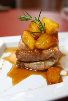 Pork Sirloin with caramelized pineapple by Juan Pablo Valdivia, one of Chile's most renowed chefs