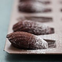 """Chocolate Madeleines. """"So, you're in the mood for chocolate but not sure whether you want to indulge in cake or cookies? Chocolate madeleines are a happy cross between the two; with a thin, crisp crust on the outside and a moist, melting chocolate crumb on the inside."""" from goboldwithbutter.com"""