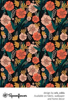 Customize your own home decor, #wallpaper and #fabric at Spoonflower. Shop your favorite indie designs on #fabric, #wallpaper and home decor products on Spoonflower, all printed with #eco-friendly inks and handmade in the United States. #patterndesign #textildesign #pattern #digitalprinting #homedecor #florals #black #flowers