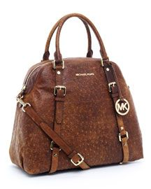 Michael Kors bag I need.. Bedford Extra-Large Bowling Satchel in Mocha Ostrich #Birthday