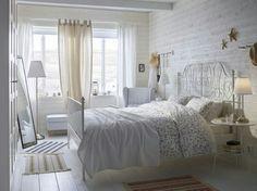 IKEA Leirvik bed, white bedroom.