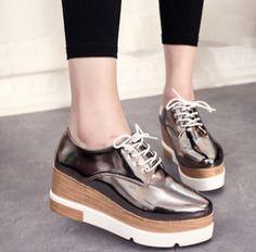 Primavera 2017 de las mujeres zapatos de tacón alto de mujer de moda Plataforma de la cuña zapatos de plataforma feminino Señaló zapatos de Cuero con cordones zapatos mujer