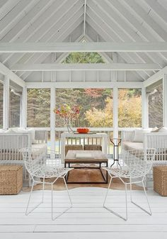 Sunroom with White Truss Ceiling, Cottage, Deck/patio
