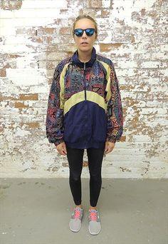 Vintage 90's Aztec print Nylon panelled Shell Jacket