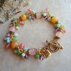 Multi Gemstones Cluster Bracelet.Amazonite by GinaJiangDesign