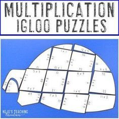 MULTIPLICATION Igloo Winter Math Puzzles | January Centers, Activities, or Games |  3rd, 4th, 5th grade, Activities, Basic Operations, Games, Homeschool, Math, Math Centers, Winter