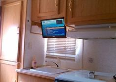 RV TV Mount Installation Ideas and Resource - Camper Life Rv Tv Mount, Wall Mount, Motorized Tv Lift, Television Console, Plasma Tv Stands, Living Tv, Normal House, Rv Travel Trailers, Console Styling