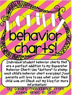Here are my monthly behavior charts for the entire school year to use with my Superstar Behavior Chart!! :)Enjoy!If you haven't checked out my ...