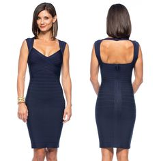 Classic // Navy Dress // Timeless // One Outfit Multiple Ways // Herve Leger Sarai in Pacific Blue // LIBERTÉ