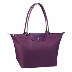 Longchamp Planetes Medium Large Long Handle Tote in Plum