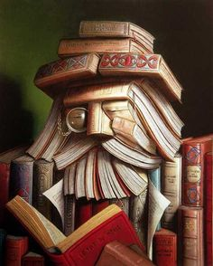 """le libraire - Andre Martins De Barros I am going to try to make this """"book sculpture"""" on my book case. Love it!!"""