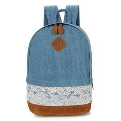 Cute Lace Denim Backpack