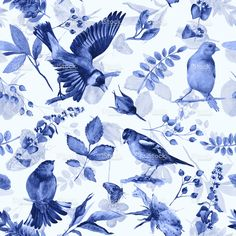 Seamless pattern with flowers, leaves, and birds. stock illustration 80823463 - iStock