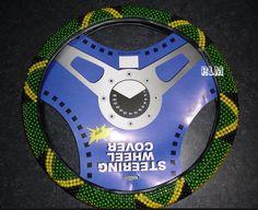 Reggae Land Muzik Store - Jamaica Beaded Steering Wheel Cover : Black, Green