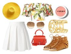 """""""Tropical Ruffles"""" by eleanalda-luthien on Polyvore featuring Isolda, Boutique Moschino, ANNA, LORAC, Chloé, Carven, Summer, skirt, sandals and ruffles"""