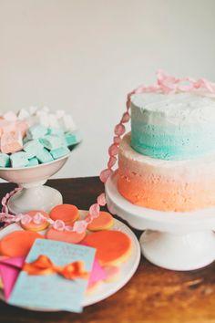 Aqua and orange cake, cookies, and fudge treats. Tessa Bakes.