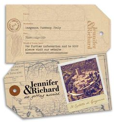 A realistic vintage style tag created as a Save the Date for a wedding in Italy by DestinationStationery.com
