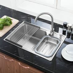 Shop for Modern Simple 304 Stainless Steel Sink Thicken Single Bowl Kitchen Washing Sink with Drain Basket and Liquid Soap Dispenser S7245 at Homelava.com with the lowest price and top service!