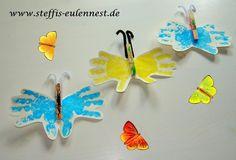 Basteln mit Kindern ,Basteln für Kinder, Kita, Krippe, Kindergarten , Schmetterling Handabdruck, Wäscheklammer , Butterfly , Sommer , Kids, Basteln,