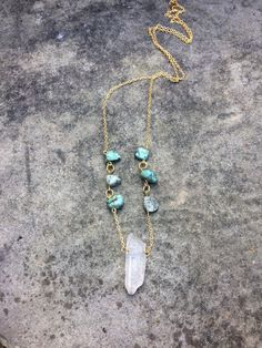 Natural Quartz Crystal and African Turquoise 18K Gold Filled Chain Necklace Boho Chic Gold Jewelry by TheHauteBohemian on Etsy