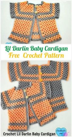 Crochet Lil Darlin Baby Cardigan Free Pattern - #Crochet Kid's Sweater Coat Free Patterns