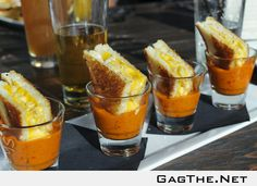 Grilled mac and cheese sandwiches in tomato soup shots!