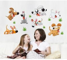 Cartoon Dogs wall sticker available at www.kidzdecor.co.za. Free postage throughout South Africa