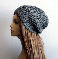 b0f984d85d0 Women Hat Wool Slouchy Hat Knit Chunky Wool Alpaca Hat Winter Beanie Womens  Teens Hat Adult Accessories in Grey