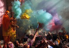 Hindu priests throws coloured powder at the devotees during Holi celebrations at Bankey Bihari temple in Vrindavan, in the northern Indian state of Uttar Pradesh. Photo source: Google #Holi #celebrations #India #bankeybihari #temple #celebratelife #Vrindavan #festivalofcolors #colorfullife #colorsofIndia