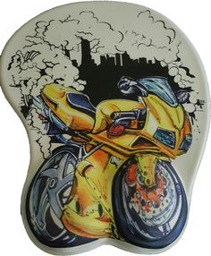 Wrist Support Gel Mouse pad for PC Yellow Motorbike Art  #UnbrandedGeneric
