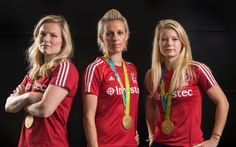 Left to right: Great Britain hockey players Hollie Webb, Alex Danson and Sophie…